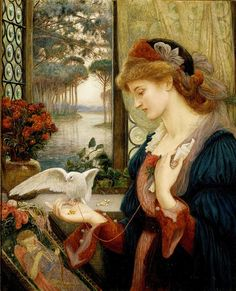 """""""Love's Messenger"""" 1885 ~ by Marie Spartali Stillman (1844-1927, British artist - Greek descent) - one the great pre-Raphaelite artists, a renowned beauty and a favorite model of many of her peers - Rossetti, Burne-Jones, Stanhope, and Whistler, among others..."""