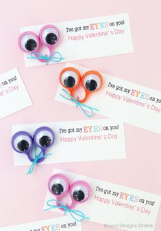 """Hey Everyone! Valentine's Day is just a month away. Time to start thinking about who you have your eye on. We have our on these cute little Valentines made from eye rings we found in the party supply section at Target. My kids are obsessed with these and have been """"borrowing"""" them from my office making it nearly impossible to get this post done. I"""