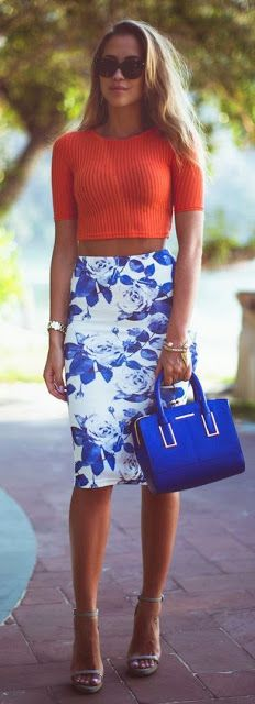 Street style | Orange crop top and White and Blue floral pencil skirt #fashion
