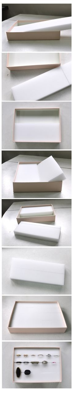 Make a ring storage box in about five minutes with this simple tutorial. Just stick pieces of foam into a cardboard box base.