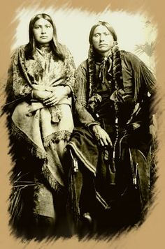 Quanah Parker and his wife Tonarcy. This picture is supposed to have been taken at Fort Sill in 1875.