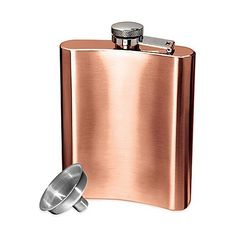 Oggi CopperPlated Stainless Steel Hip Flask with Funnel -- Click on the image for additional details.