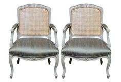 Silk & Caned French Chairs, Pair