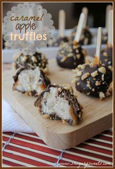 Caramel Apple Truffles @shugarysweets Sweet apple truffle center, dipped in caramel, chocolate and peanuts!