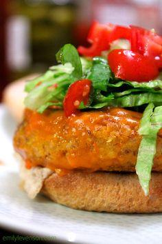 Amazing Buffalo Chickpea Burgers   Corn Free, Dairy Free, Egg Free, Gluten Free, Soy Free, Vegan, Vegetarian, Wheat Free