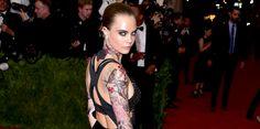 Cara Delevingne's Elaborate, Sprawling Met Gala Tattoo Was Fake Cara Delevingne Tattoo, Temp Tattoo, Vintage Botanical Prints, Nature Tattoos, Losing Her, Tattoo Images, Rihanna, Cherry Blossom, Bangs