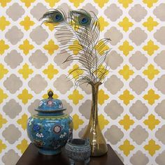 Moroccan Tiles Wall Pattern - reusable stencil patterns for walls just like wallpaper - DIY decor