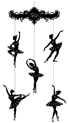 Ballerina Mobile - Beautiful laser cut silhouettes in heavy black cardboard (with string for hanging). Works especially well with light colored background or in a window. Ballerina Baby Showers, Ballerina Art, Ballet Crafts, Paper Snowflake Template, Wooden Wall Design, Ballerina Silhouette, Dance Paintings, Mobiles, Pressed Flower Art