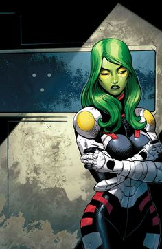 Raised by Thanos to be a living weapon, Gamora seeks redemption as a member of the Guardians of the Galaxy, putting her extraordinary fighting abilities to good use. Comic Book Characters, Marvel Characters, Comic Character, Comic Books Art, Comic Art, Character Design, Marvel Comics, Marvel Art, Marvel Heroes