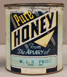 Honey can from Dixie, Ontario producer  #agriculture #honey #bees #vintage