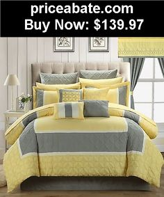 Bedding: Aida Quilted 25 Piece KING Room In A Bag Comforter Bed Sheet Set Yellow - BUY IT NOW ONLY $139.97