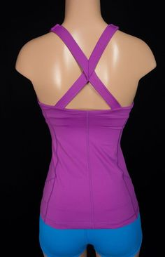 LULULEMON X Back Tank 4 S Small Purple Twisted Yoga Run Gym Bra Top #Lululemon #SportsBrasBraTops