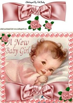 SLEEPTIGHT BABY GIRL WITH BIG BOW 8X8 on Craftsuprint - Add To Basket!