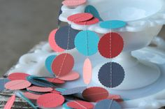 Paper Garland  Coral Teal Peach & Gray  Wedding by DancingMooney, $10.00