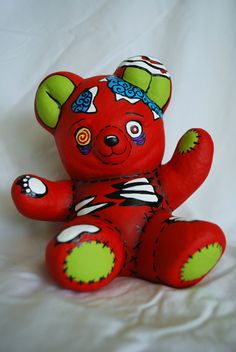 Zombie Ceramic Bear in Red. $20.00, via Etsy.
