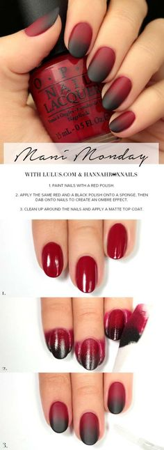 Best Tutorials for Ombre Nails – Black and Red Ombre Manicure How To – We Have … - Nail Art Designs Gorgeous Nails, Pretty Nails, Red Ombre Nails, How To Ombre Nails, Ombre Nail Art, Red Black Nails, Pink Black, Nail Art Diy, How To Do Nails