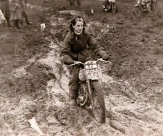Gwen Wickham White, riding a 197cc Francis Barnett,  1952 Scottish Six Days Trial