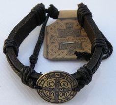 Black Leather St. Benedict Medal Bracelet