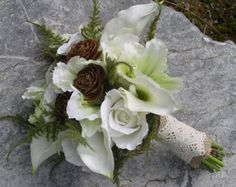 Woodland Real Touch silk Calla Lily  Rose Hand Tied Wedding Bouquet with Burlap and Lace Rustic, Enchanted Forest, or Winter Wedding