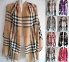 "This is a lovely Pashmina (Cashmere) plaid ladies shawl/wrap.  It has a plaid pattern and is available in seven different colors: Camel Mix, Grey Mix, Pink Mix, Light Blue Mix, Purple Mix, White Mix, Berry Pink Mix.  Our Black Mix is no longer available. Made of 70% Pashmina (Cashmere) & 30% Silk.     **This is an unbranded item**    The size is 28"" x 77"" (Fringes included)    **This item ships within seven (7) days    Currently not available for international shipping.  