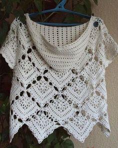 Meravigliosa maglietta con cappuccio realizzata all'uncinetto composta da quadretti.  fonte:http://www.liveinternet.ru/users/femida15/rubric/2520615/