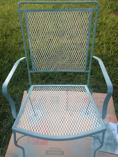 White and green metal deck furniture up cycled
