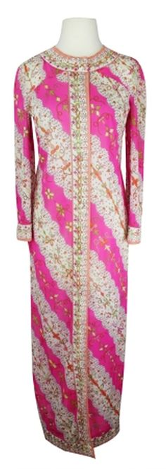 - Unique EPFR housecoat   - Very light and sheer printed fabric with lovely floral and bows print  - Pink background with orange, white, yellow and peach colored print  - Buttons all the way up the front   - EPFR written through out  - 3/4 kimono sleeves  - Full length, relaxed, loose fit  - Single slit pocket on right side seam  - Wear it as a jacket or as a cover up!  - Would look great belted and worn as a maxi dress!