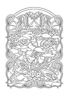 Colouring Books - FREE printable A4 size - Fish Pond // Estanque - Imprimible - Imagenes para colorear GRATIS