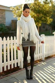 Ivory sweater, black and white skirt, black tights, black scarf?