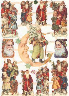 Original German Die Cut Scraps Victorian Father Christmas Tree Santa Noël   eBay