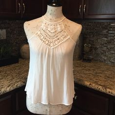 L.A. HEARTS TANK White size small (fits med too), L.A. Hearts (from PacSun) flowy tank w/crochet detail at from chest w/a single button closure at top back (button shown on last pic). Shirt like new, worn once! AS IS/NO HOLDS OR TRADES! LA Hearts Tops Tank Tops