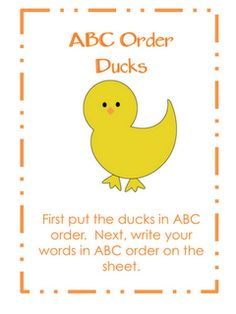 ABC Order Ducks Center!!!  FREE!!!  Oh so cute!!!!! - this will be a fun educational activity for my children