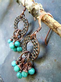 Bohemian Earrings / Turquoise Jasper / Gypsy Earrings / Gypsy Jewelry / Copper Earrings by Syrena56, $26