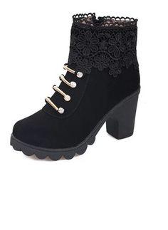 Women's Boots Platform Ankle Boots Chunky Heel Leatherette Shoes (1024855) @ floryday.com
