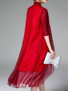 Burgundy 3/4 Sleeve Silk Asymmetric Plain Coat