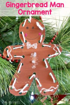 Looking for gingerbread man activities for preschool? This adorable non-edible gingerbread ornament is a MUST-DO for the holiday season! It's the perfect gingerbread man craft for little hands! Christmas Decorations For Kids, Preschool Christmas, Christmas Crafts For Kids, Christmas Activities, Kids Christmas, Family Activities, Toddler Activities, Holiday Crafts, Gingerbread Man Crafts