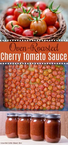This Oven-Roasted Cherry Tomato Sauce is incredibly quick and easy to make and is full of that sweet and tangy tomato flavor making it a delicious base for almost any meal! Find the recipe at gracefullittlehoneybee.com #cherrytomato #tomatosauce #ovenroasted Cherry Tomato Pasta Sauce, Cherry Tomato Recipes, Roasted Tomato Sauce, Homemade Tomato Sauce, Tomato Sauce Recipe, Sauce Recipes, Canned Cherry Tomato Salsa Recipe, Tomatoe Sauce, Canned Tomato Sauce