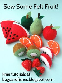 Sewing Tutorials Free Sew a whole bowl of felt fruit with these free DIY sewing tutorials! Felt Food Patterns, Stuffed Toys Patterns, Sewing Patterns Free, Felt Patterns Free, Free Pattern, Pattern Sewing, Pattern Art, Sewing Projects For Beginners, Sewing Tutorials