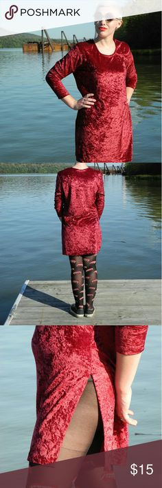 Red Velvet Dress Love love love this red velvet dress 😍😍😍😍😍😍 so beautiful and in great condition missing a tag but fits a small to medium,😘😘😘slit is pretty high on both sides would be so cute with leggings 😊😊😊super cute 😍😍😍😍 Vintage Dresses Mini