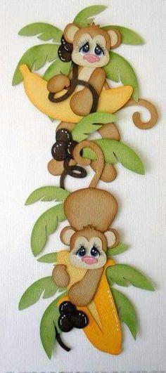 let's monkey around: Scrapbook Borders, Scrapbook Embellishments, Baby Scrapbook, Scrapbook Paper Crafts, Scrapbook Cards, Merian, Paper Piecing Patterns, Little Monkeys, Foam Crafts