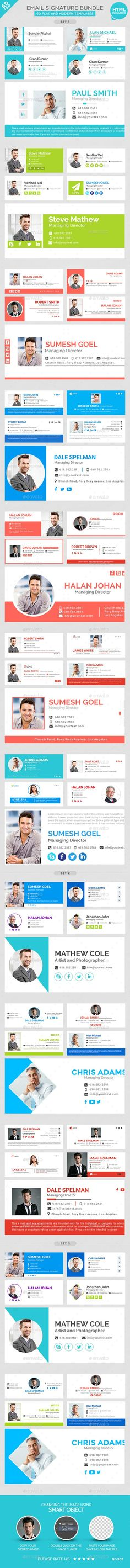 Email Signature - 5 Designs - HTML Files Included Email - cover letter signature