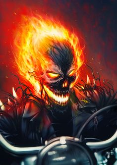 Ghost Rider Symbiote by junkome Ghost Rider Wallpaper, Skull Wallpaper, Marvel Dc Comics, Marvel Heroes, Venom Comics, Marvel Venom, Ms Marvel, Captain Marvel, Ghost Rider Pictures