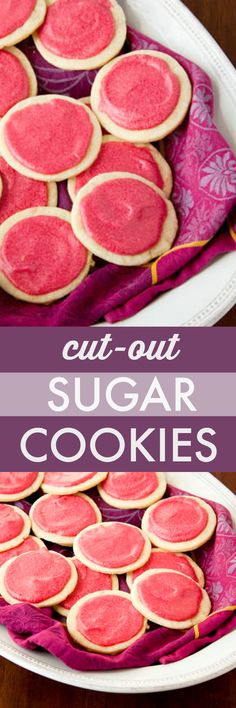 Easy cut out sugar cookies with berry frosting. @dessertfortwo
