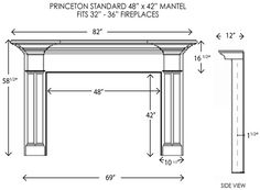 Princeton Wood Mantel Standard Sizes
