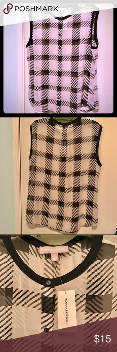 Sheer Top Cute sheer black/white plaid sleeveless top with buttons on front and black binding at the neck and sleeves. Banana Republic Tops Blouses