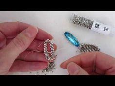 Beadweaving Tutorial: Bezel for a Long Oval Swarovski Crystal Rhinestone - YouTube