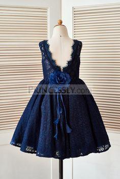 Deep V Back Navy Blue Lace Wedding Flower Girl Dress with Flower
