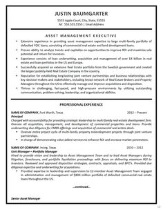 Asset Management Resume Example #marketing #asset #management #system http://mauritius.nef2.com/asset-management-resume-example-marketing-asset-management-system/  # Resume and Cover Letter Examples and Writing Guides The Blog Asset Management Resume Example The image below represents a resume for an Asset Management Executive with over two decades of experience in high level financial management. The resume uses a job title heading to identify the job seeker s career. A bullet list summary…