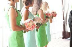 Bridesmaid's bouquets, A to Zinnias, florist, Savannah, GA.