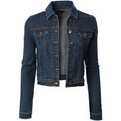 LE3NO Womens Classic Cropped Long Sleeve Denim Jean Jacket ($28) ❤ liked on Polyvore featuring outerwear, jackets, coats, denim jacket, blue jean jacket, long sleeve denim jacket, long sleeve jean jacket, cropped jacket and jean jacket